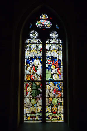 leuven: LEUVEN, BELGIUM-SEPTEMBER 12, 2014: Stained glass window in Saint Antony�s Chapel. The chapel is known from 1329