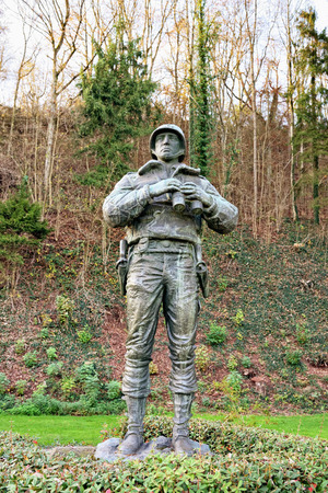 patton: ETTELBRUCK, LUXEMBOURG-NOVEMBER 23, 2014: Statue of American soldier at Memorial of George S. Patton in memory of liberation of Ettlelbruck from German army on 27 December 1944