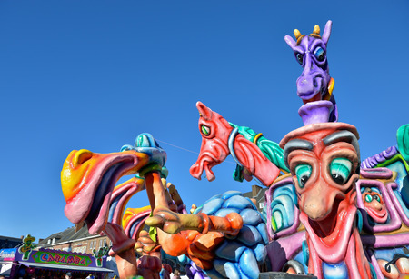 defile: NIVELLES, BELGIUM-MARCH 03, 2014: Decorated cars with weird characters in defile during yearly carnival in Nivelles