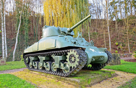 patton: ETTELBRUCK, LUXEMBOURG-NOVEMBER 23, 2014: American tank at Memorial of George S. Patton in memory of liberation of Ettlelbruck from German army on 27 December 1944
