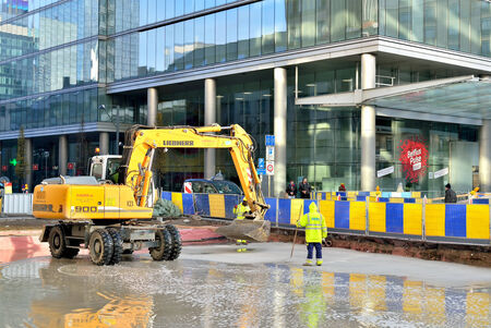 continued: BRUSSELS, BELGIUM-DECEMBER 8, 2014: Urgent works continued during day of National Strike in area of North Railway Station Editorial