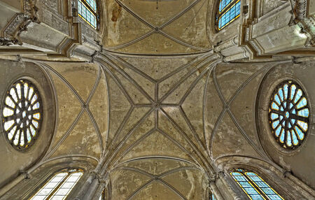 benelux: BRUSSELS, BELGIUM-SEPTEMBER 21, 2014: Ceiling in interior of Saint Catherine church. The church was built in 19 century