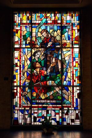 leuven: LEUVEN, BELGIUM-SEPTEMBER 12, 2014: Stained glass window in Saint Antonys Chapel. The chapel was built in about 1329 Editorial