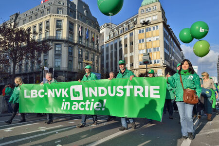 austerity: BRUSSELS, BELGIUM-NOVEMBER 06, 2014: National manifestation in Brussels against austerity measures of Belgian government