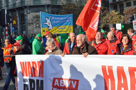 austerity: BRUSSELS, BELGIUM-NOVEMBER 06, 2014: Trade union representative during manifestation against austerity measures introduced by Belgian government