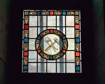 wallonie: MONS, BELGIUM-OCTOBER 10, 2014: Cathedral window in Our Lady of Grace chapel of Collegiate church Saint Waudru. Construction of this church started in 1450 and never was ended Editorial