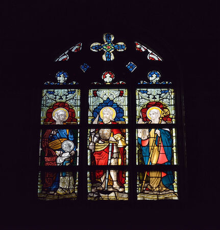 walloon: MONS, BELGIUM-OCTOBER 10, 2014: Cathedral window in Collegiate church Saint Waudru. Construction of this church started in 1450 and never ended