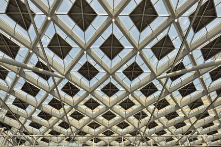 'the hague': HAGUE, NETHERLANDS-AUGUST 01, 2014: Transparent ceiling of The Hague Central railway station or Den Haag Centraal.