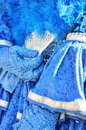 communal: MOUSCRON, BELGIUM-JUNE 06, 2015: Details of costume of participant of defile in Parc Communal during 6 edition of Venice in Mouscron Promenade Editorial