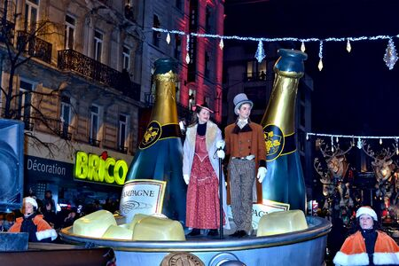 BRUSSELS, BELGIUM-DECEMBER 14, 2014: Christmas Parade defile in frame of Winter Wonders events moves by boulevard Anspach