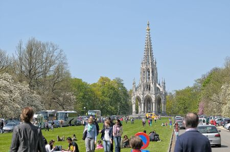 leopold: BRUSSELS, BELGIUM-MAY 01, 2013: People visit the neogothic Monument of Leopold I in Laken, in Brussels