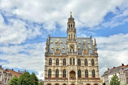 Exterior of medieval gothic city hall of Oudenaarde, Belgium