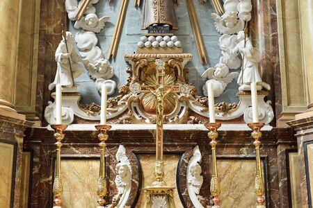 OUDENAARDE, BELGIUM-JUNY 23, 2015: Decorated altar in interior of church Saint Walburga, known from 11 century