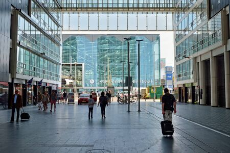 HAGUE, NETHERLANDS-AUGUST 01, 2014: Entry to The Hague Central railway station or Den Haag Centraal.