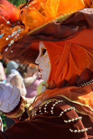 MOUSCRON, BELGIUM-JUNE 06, 2015: Unidentified participant of 6 edition of Venice in Mouscron defile in Parc Communal of the city demonstrates colourful costume