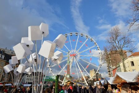 BRUSSELS, BELGIUM-DECEMBER 6, 2014: Christmas Market in historical center of Brussels in frame of Winter Wonders celebrations