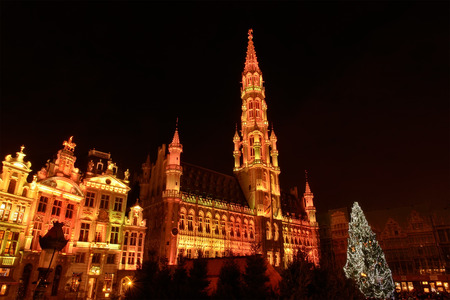 BRUSSELS, BELGIUM-DECEMBER 14, 2014: Christmas illumination of Grand Place in Brussels in frame of Winter Wonders celebration events Editorial