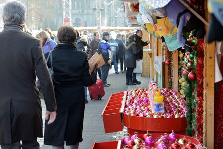 BRUSSELS, BELGIUM-NOVEMBER 19, 2014: Christmas Market on Saint Catherine Square in Brussels in frame of Winter Wonders celebrations
