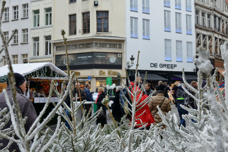BRUSSELS, BELGIUM-DECEMBER 05, 2014: Christmas Market in Brussels center, very popular entre local people and tourists Editorial