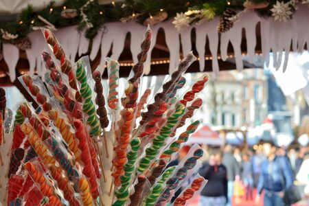 BRUSSELS, BELGIUM-NOVEMBER 29, 2014: Christmas Market in Brussels on Saint Catherine square, very popular entre local people and tourists