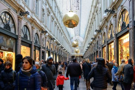 BRUSSELS, BELGIUM-DECEMBER 6, 2014: Gallery St. Hubert in historical center of the city decorated for Christmas celebrations Editorial