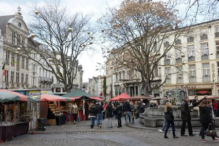 BRUSSELS, BELGIUM-DECEMBER 06, 2014: Christmas Market in center Brussels, very popular between local people and tourists Editorial