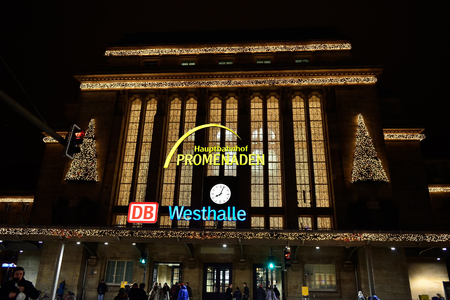 LEIPZIG, GERMANY-DECEMBER 21, 2014: Leipzig Central Railway Station and shopping center Westhalle. This is the largest railway station in the world