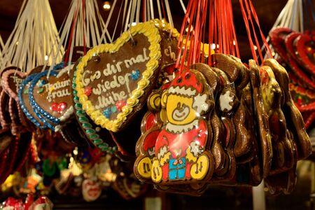 BERLIN, GERMANY-DECEMBER 24, 2014: Christmas breads exposed on evening market in Berlin