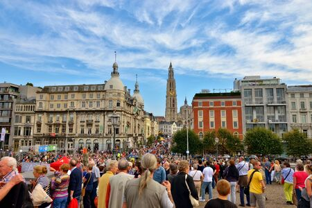 ANTWERP, BELGIUM-OCTOBER 04, 2014: Tourists crowded historical center of the city. Because of events commemorating World War I the city accepted about 100000 visitors Editorial