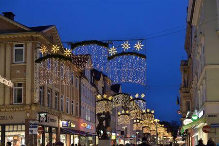 GOTTINGEN, GERMANY-DECEMBER 27, 2014: Christmas illumination of streets in historical center of Gottingen Editorial