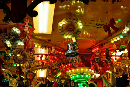 carrousel: Details of Carrousel decorated for Christmas Stock Photo