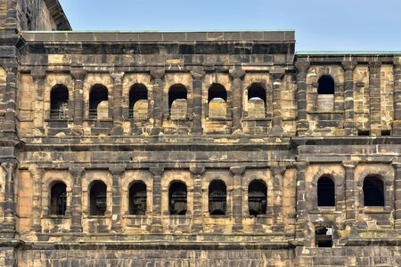 Details of ancient roman fortress Porta Nigra in historical center of Trier, Germany