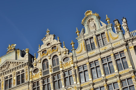 restored: Restored buildings of guild houses on Grand Place in Brussels, Belgium