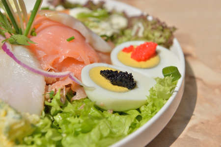 Seafood salad with caviar Stock Photo
