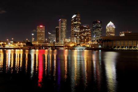 sunshine state: Night exposure of the Tampa skyline on October 14, 2009. View from behind the Rehabilitaion Center at Tampa General Hospital. Stock Photo