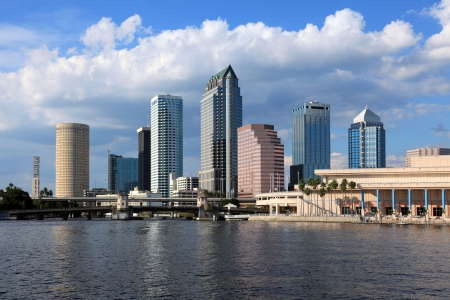 downtown district: Downtown Tampa on a bright sunny day in October of 2009
