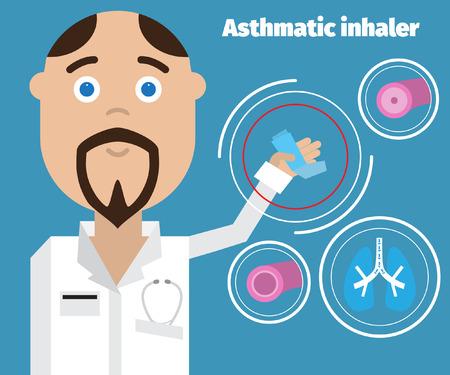 asthma inhaler: Doctor showing an asthma inhaler. Asthma Medical poster. Illustration