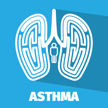 asthma: Vector Brain maze symbolizes asthma and lung.