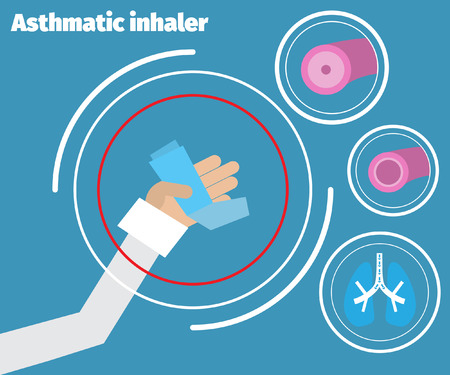 inhaler: Doctor showing an asthma inhaler. Asthma Medical poster. Illustration
