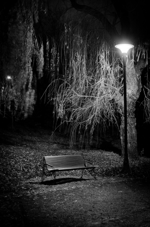 A lonely bench black and white picture  Stock Photo