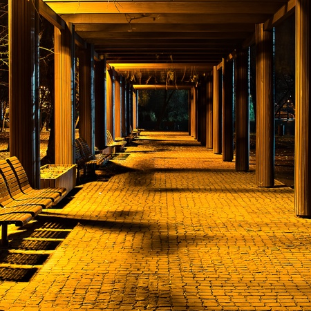 A corridor formed by columns 