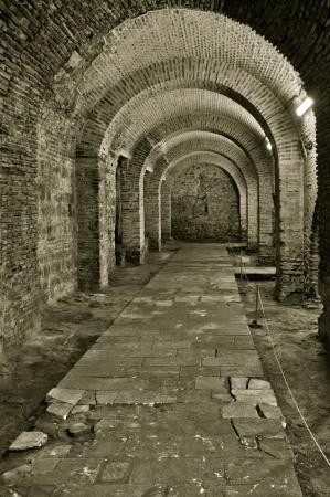 castello medievale: Corridoio in un castello vecchio mattone Archivio Fotografico