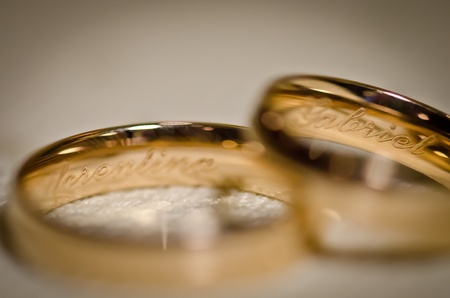 Wedding rings against white background photo