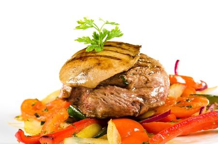 meat and pork liver with sauteed vegetables photo