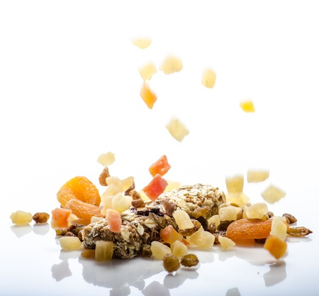 Fitness bar and dried fruits