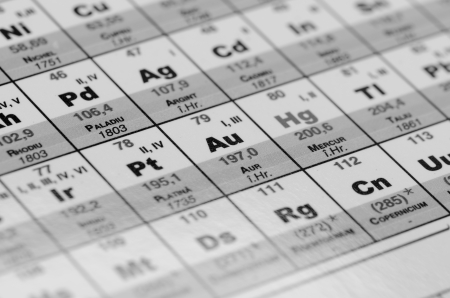 Periodic table close up black and white photo