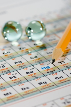 Periodic table,  lead pencil close up  photo