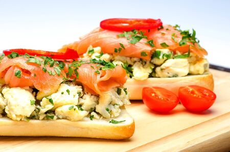 Sandwiches with salmon and organic egg omelette against a white background photo