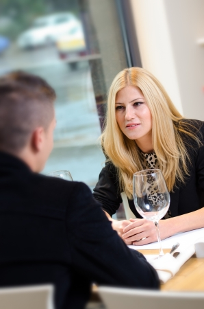 Business woman talking to a business man  during lunch Stock Photo - 16654424