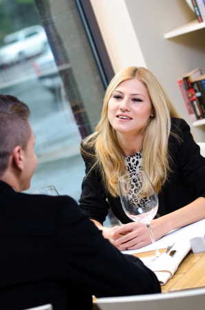 Business woman talking to a business man  during lunch Stock Photo - 16655479